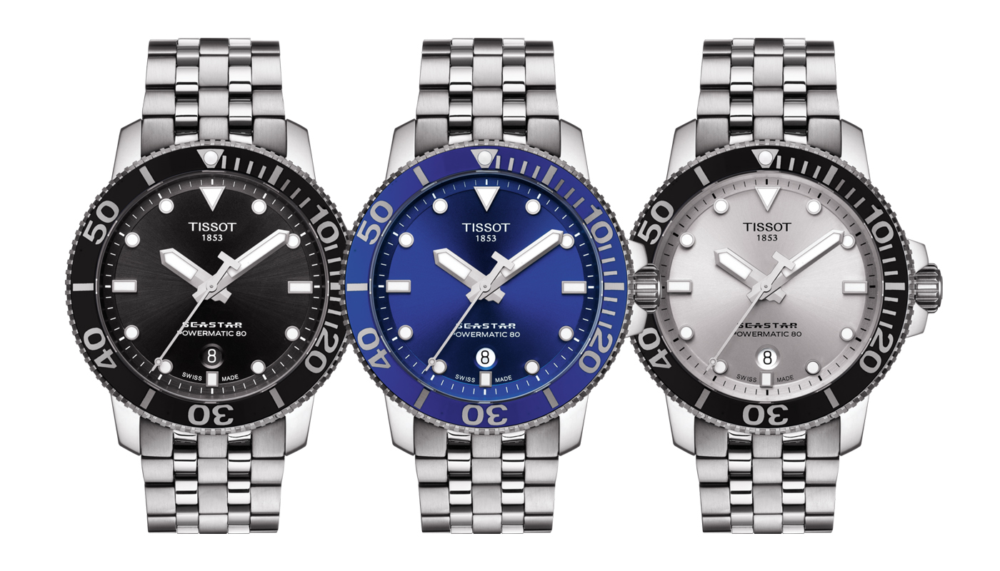 The three variants of the Tissot Seastar 1000 diver models in steel bracelet