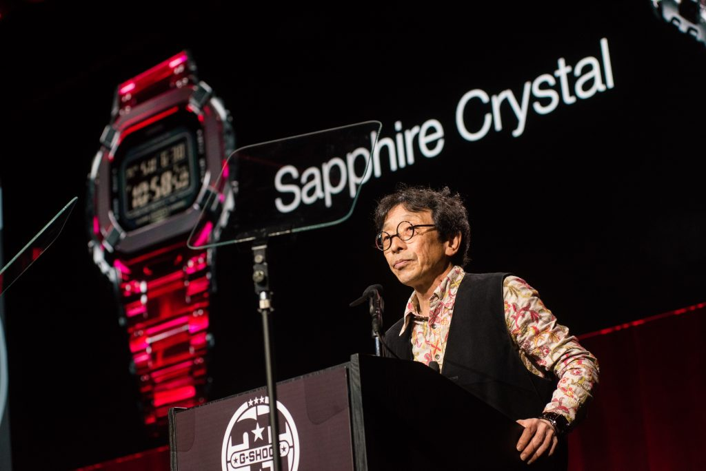 Kikuo Ibe announcing the sapphire crystal G-Shock