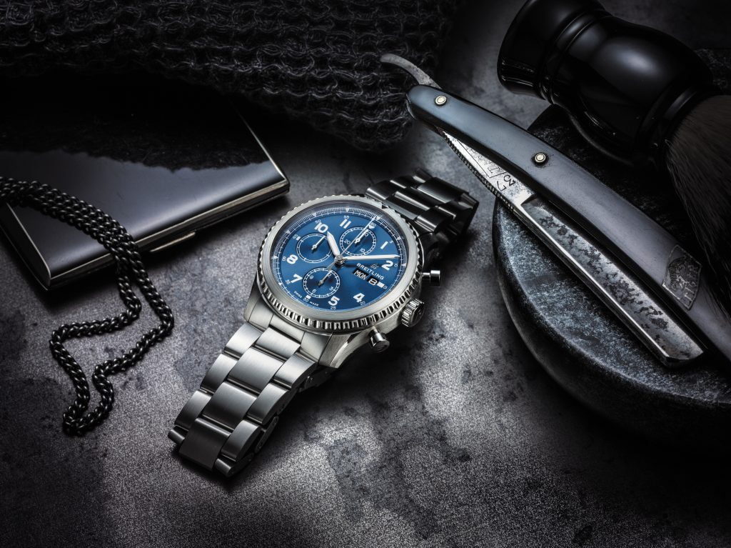 Breitling Navitimer 8 Chronograph with blue tone-on-tone dial and stainless steel bracelet