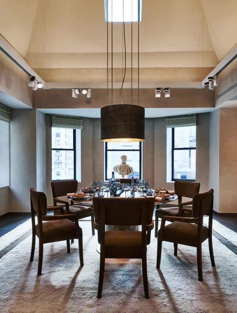 Bottega Veneta Brushed bronze OVM chandelier that's displayed in the New York Maison's apartment
