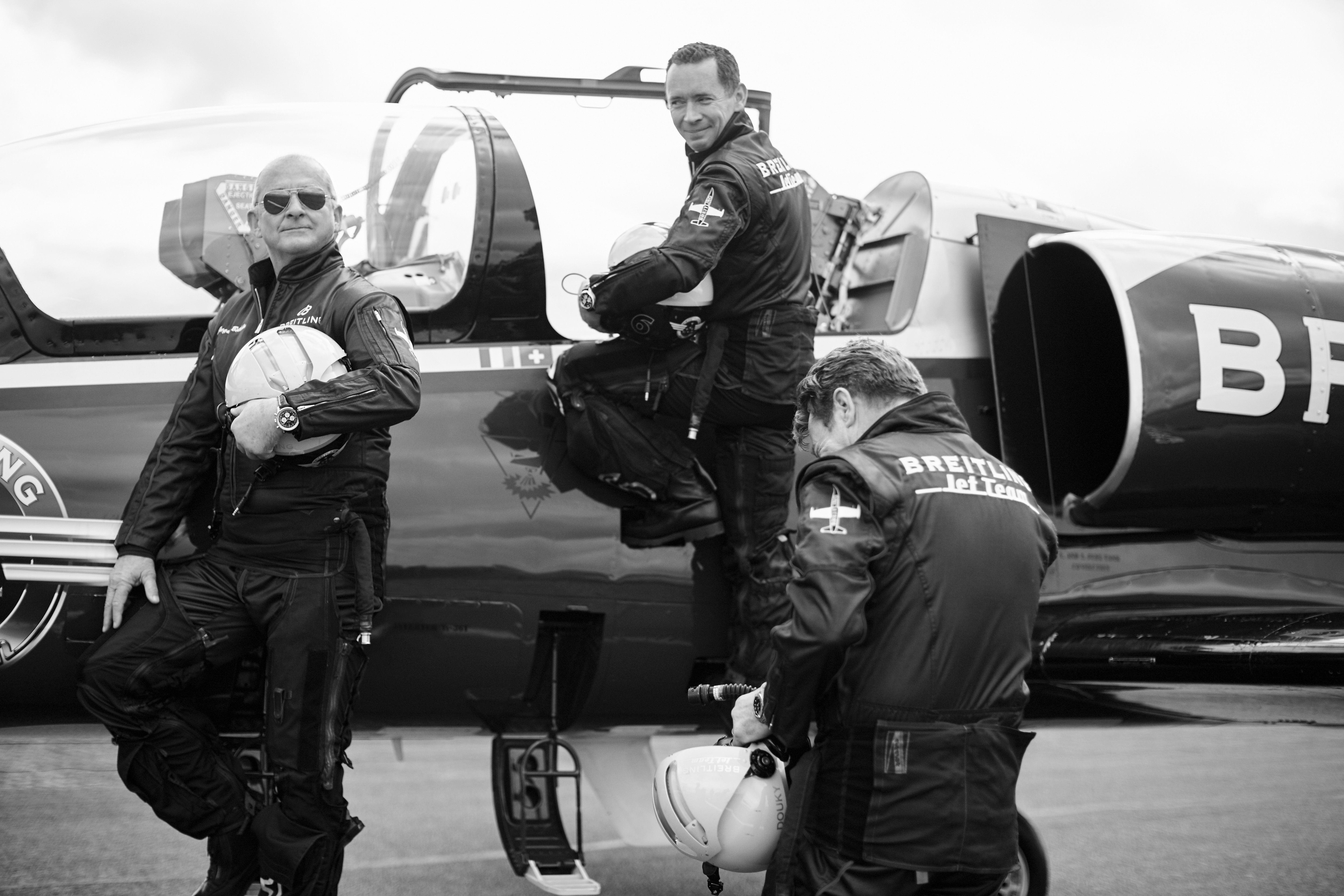 The three members of Breitling's Jet Team Squad