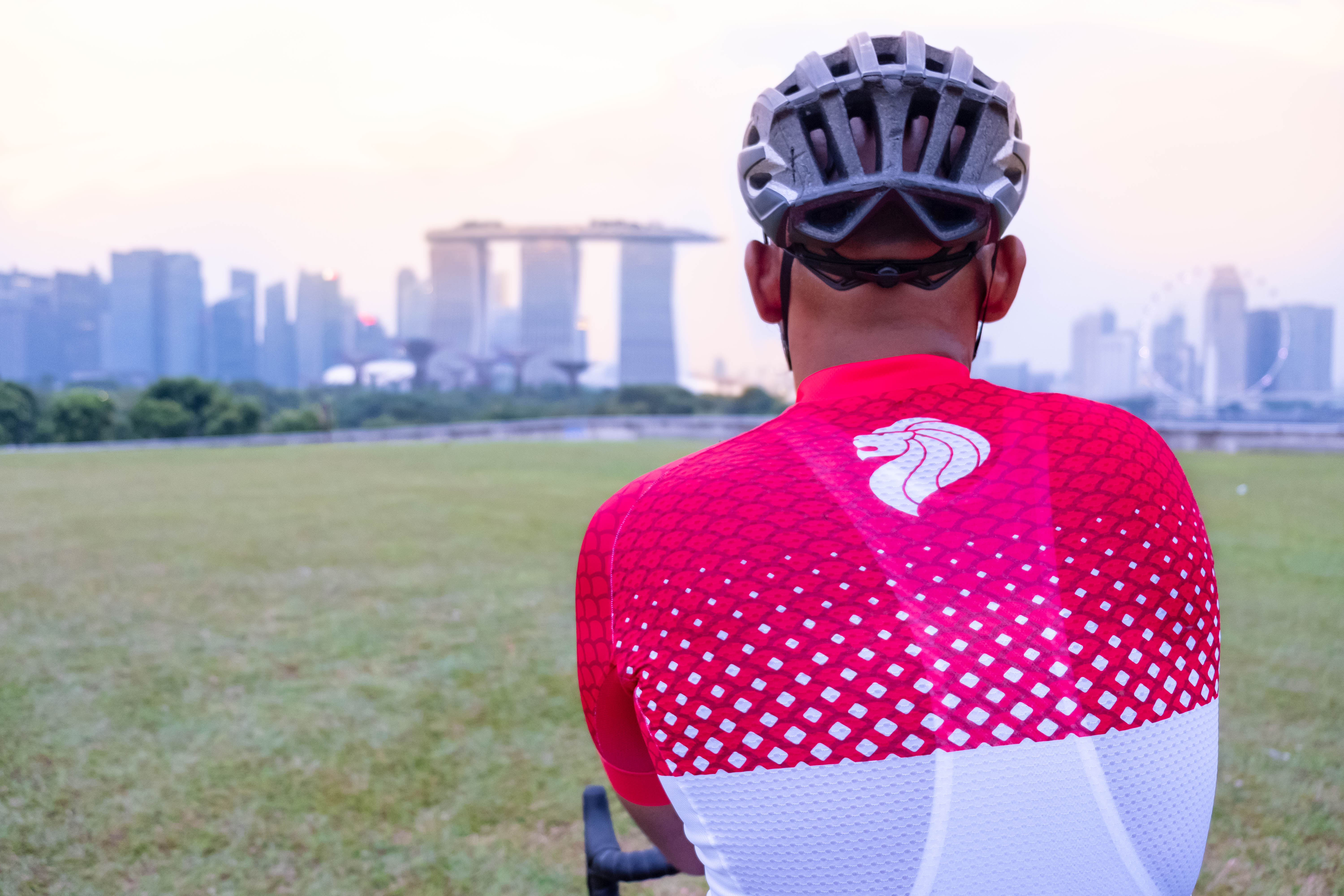 The 'Lion Head' at the back of Odlo's Singapore-inspired cycling jersey