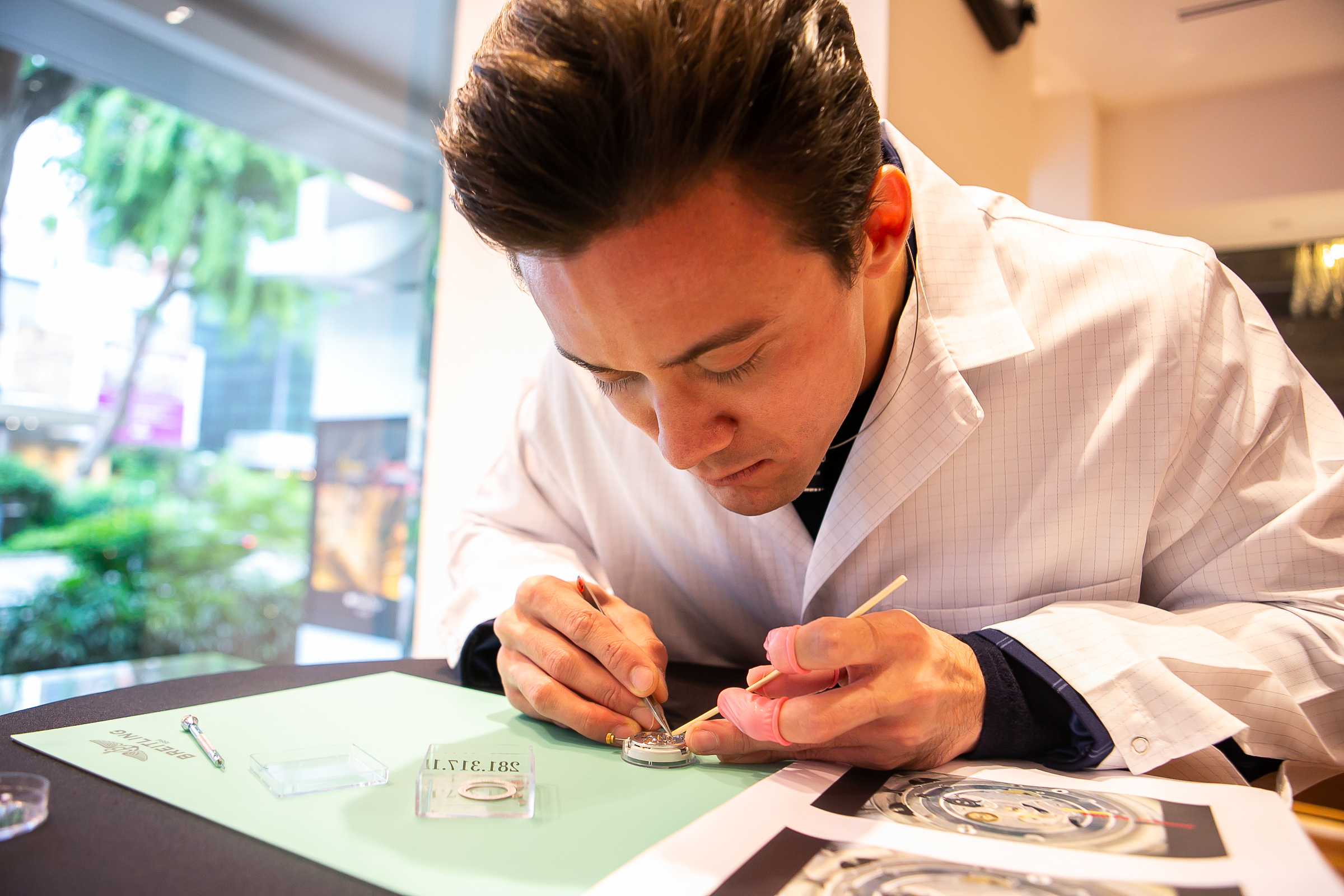 Dr Shane Abucewicz Tan, one of the 2018 A-Listers, focusing on putting together the Breitling watch's movement