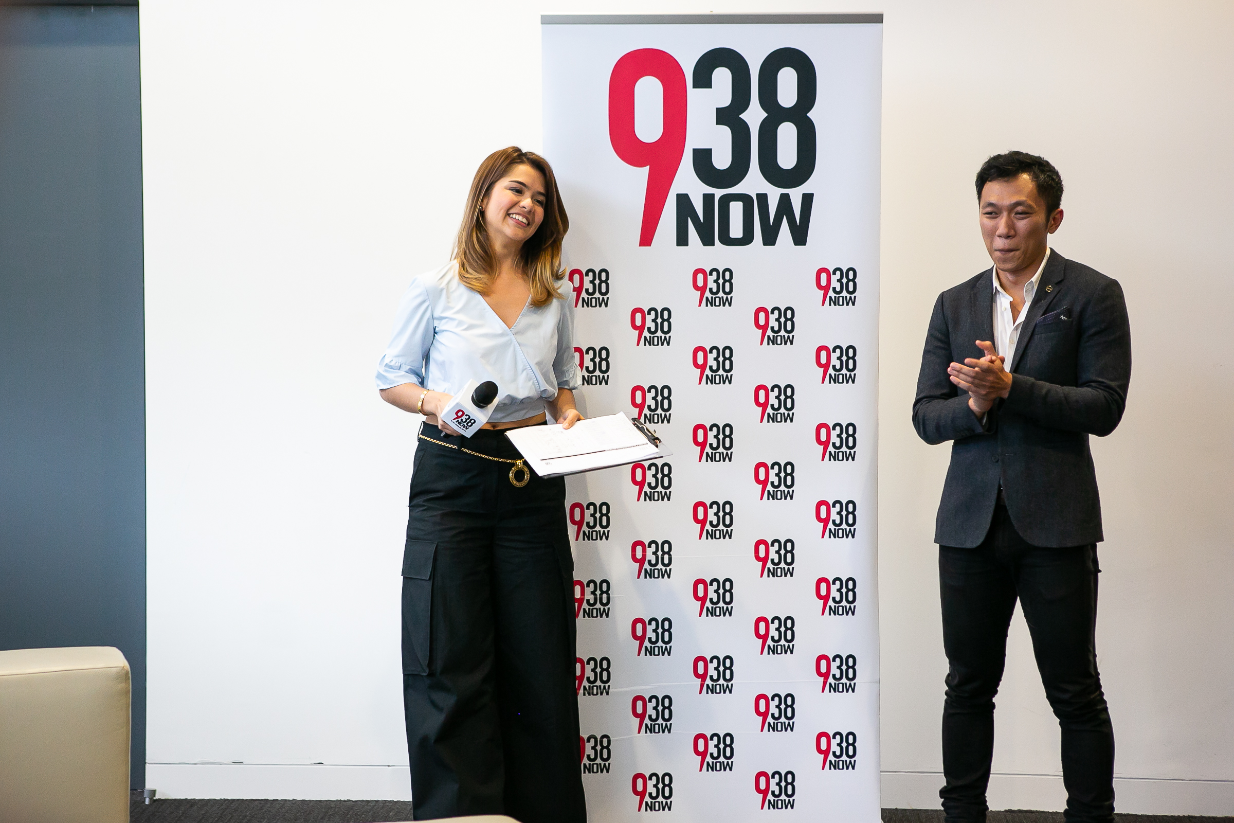 Host and radio personality Charlotte Mei with managing editor Farhan Shah during the 938NOW challenge