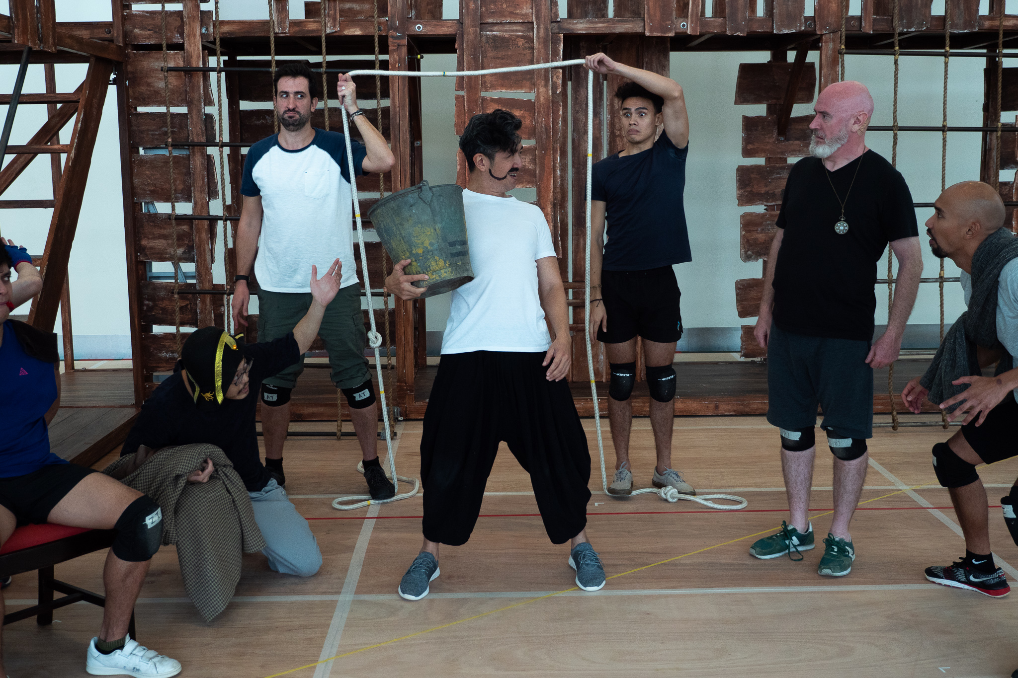 The cast of Peter and the Starcatcher during rehearsals