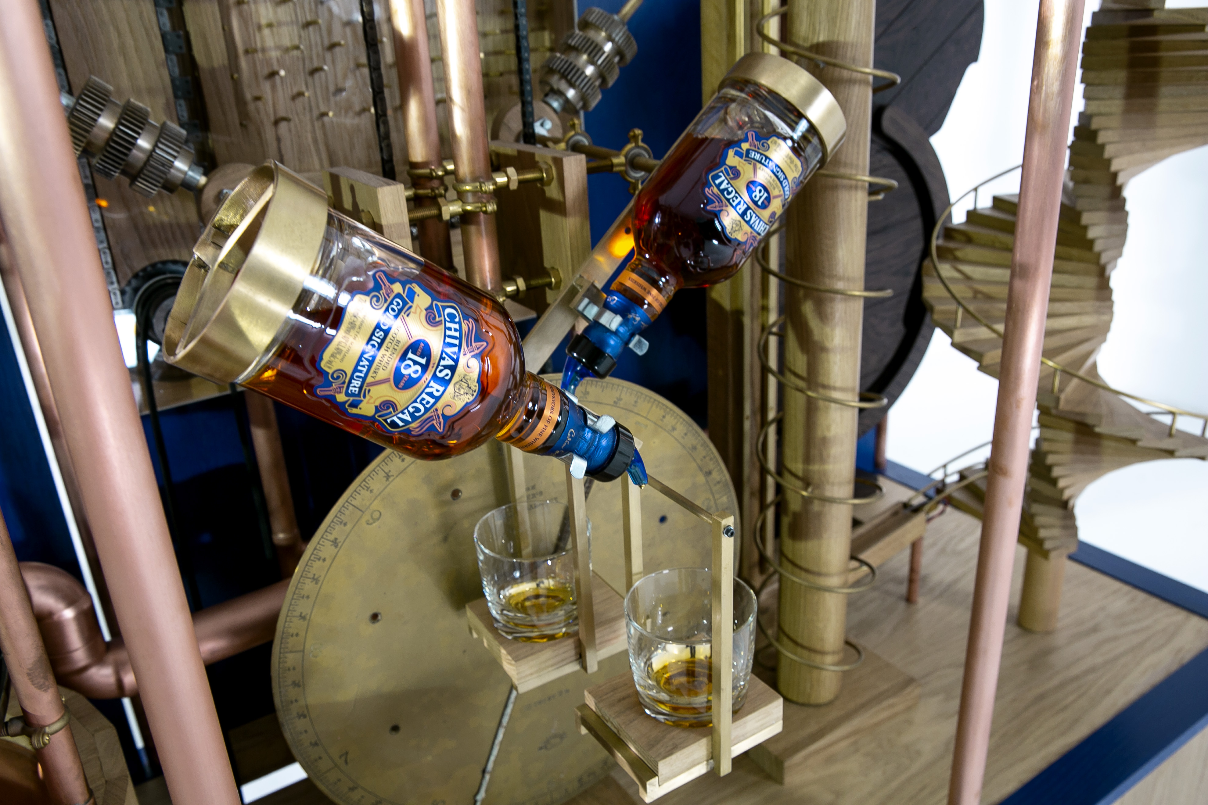 The Chivas whisky pouring machine pours out two perfect measures