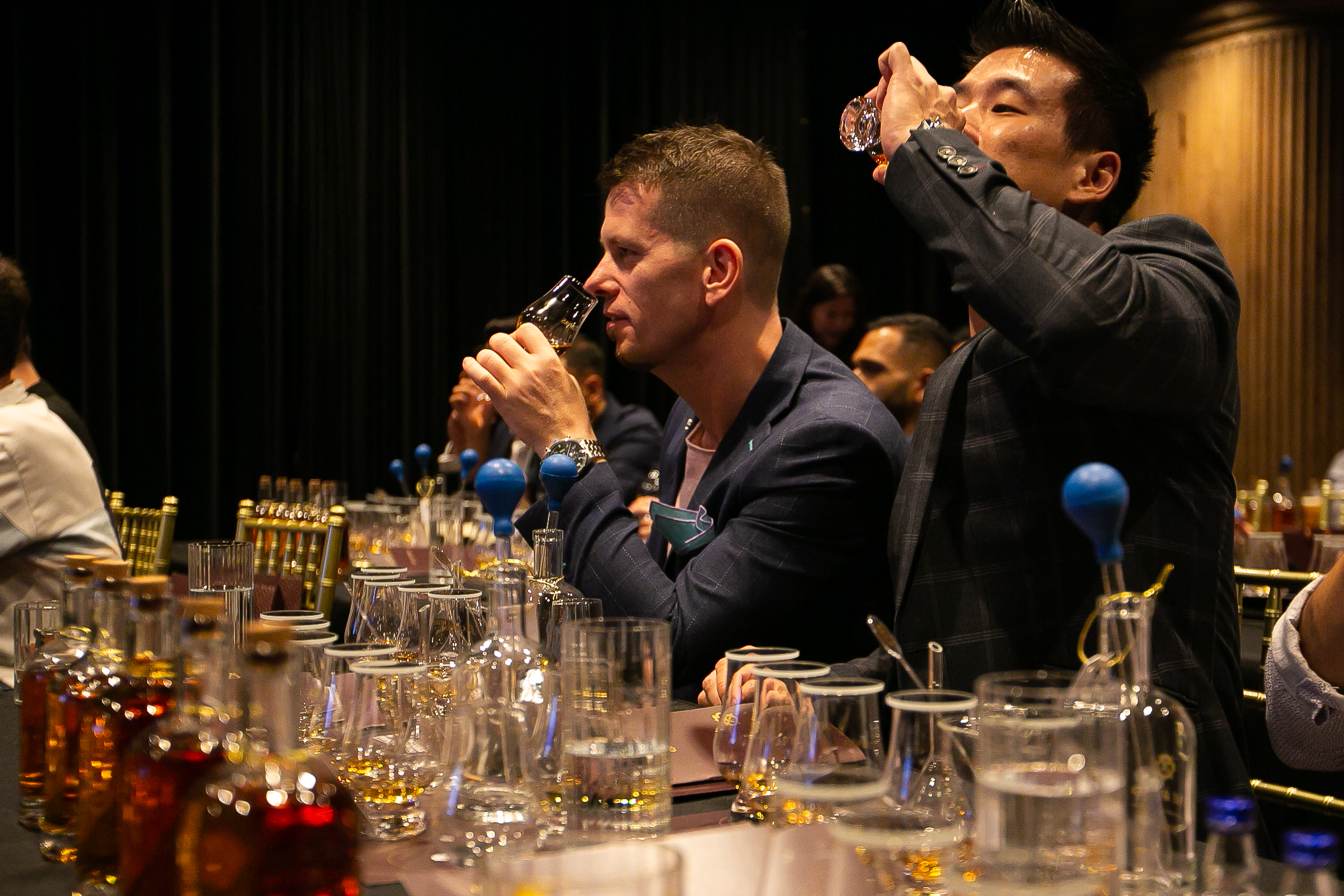 Participants at the workshop nosing the whisky