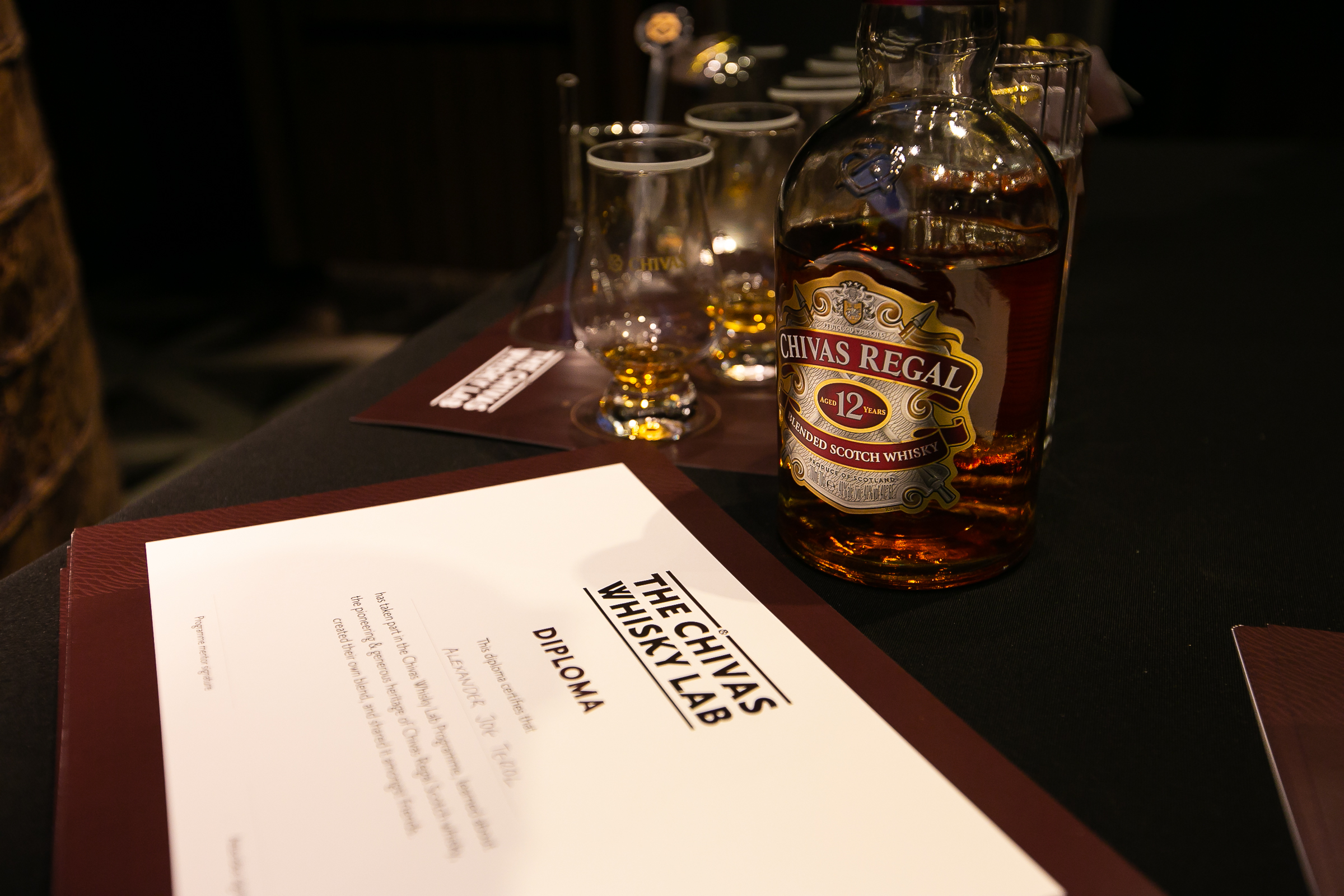 The certificate of recognition at the end of the AUGUSTMAN x Chivas Regal whisky blending workshop