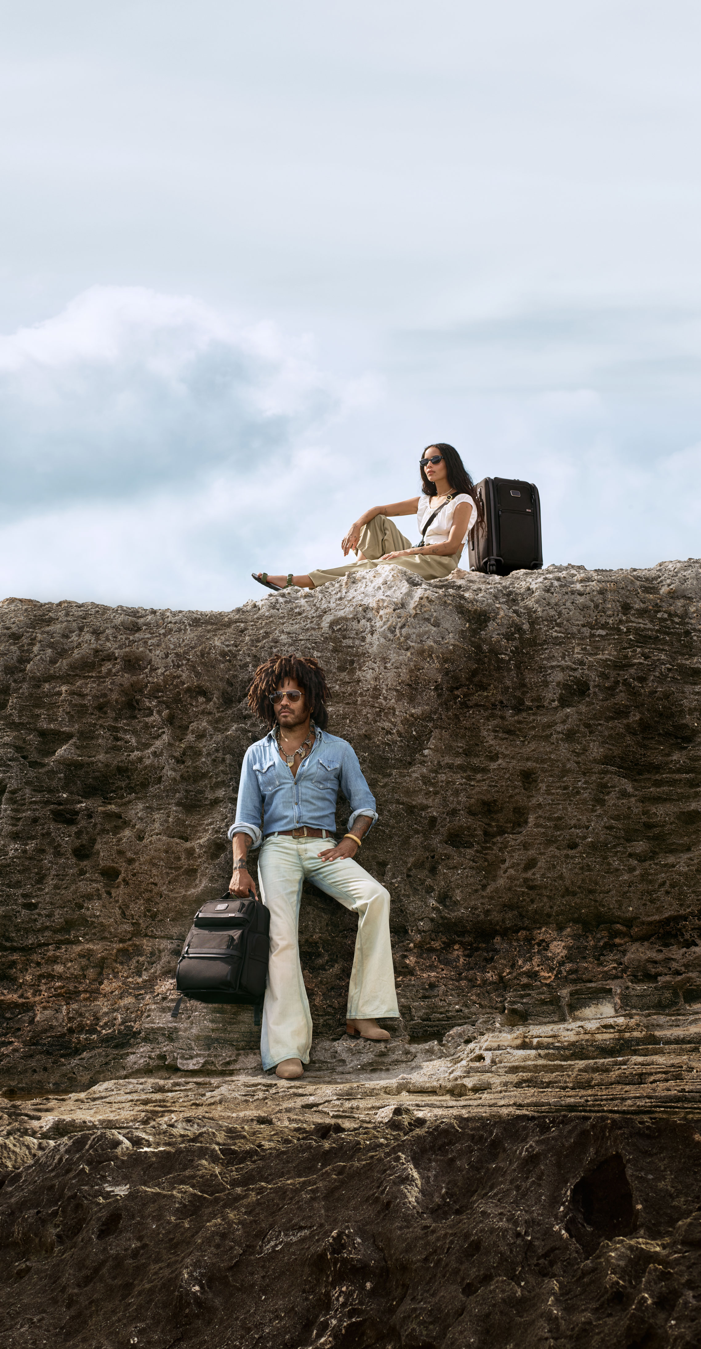 Lenny and Zoe Kravitz on the Bahamas, shooting a campaign image for Tumi