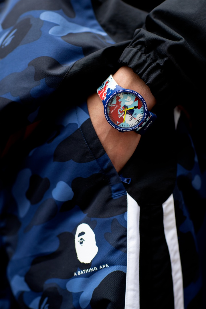 The Swatch x A Bathing Ape Big Bold Swiss watch