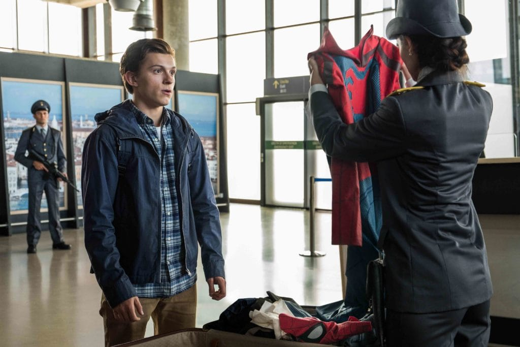 Spider-Man: Far From Home. Peter Parker(TOM HOLLAND) is stopped by an Italian Customs Officer (GIADA BENEDETTI) in Columbia Pictures' SPIDER-MAN: ™ FAR FROM HOME.