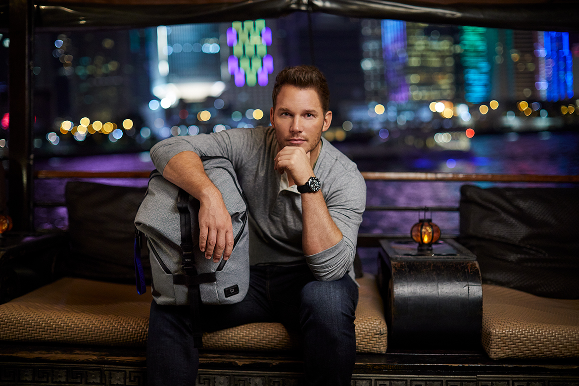 Chris Pratt carrying the Tumi Tahoe backpack