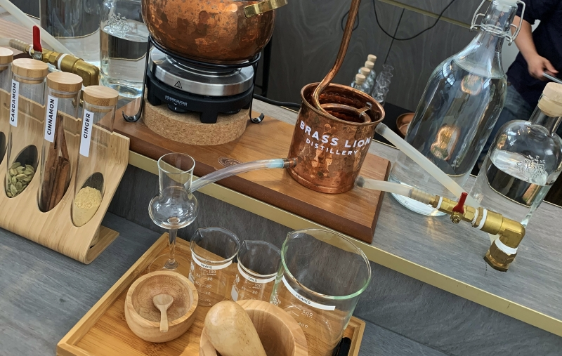 the well equipped work station at The Brass Lion Distillery's gin making workshop