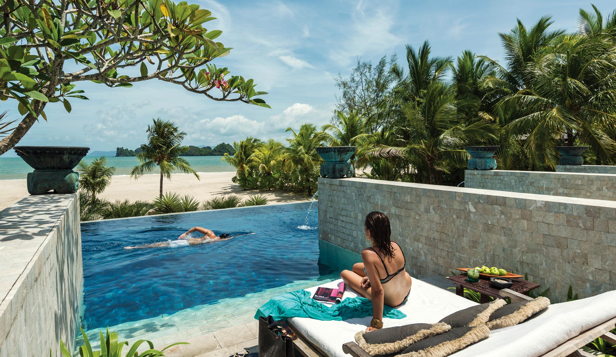 Pool cabana at Four Seasons Langkawi, perfect for a short vacation to recharge and refresh