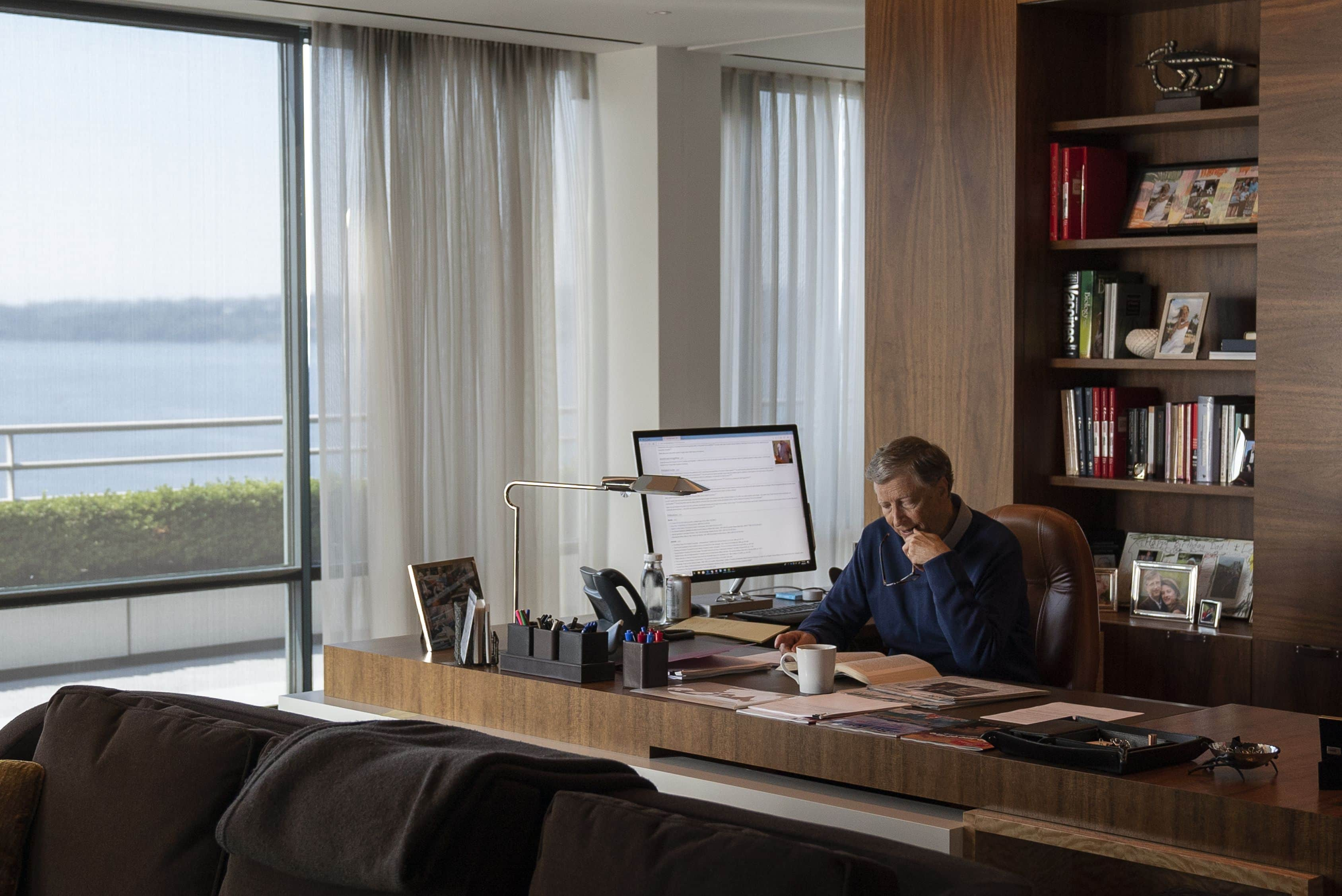 Bill Gates working from his home office in Netflix's Inside Bill's Brain