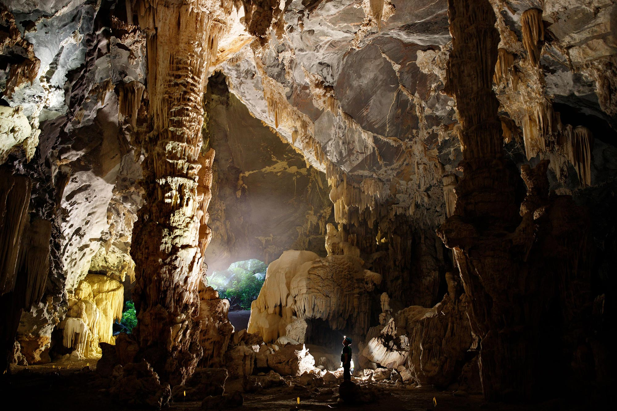 The spectacular limestone formations in the Tú Làn limestone caves, formed over many years of weathering