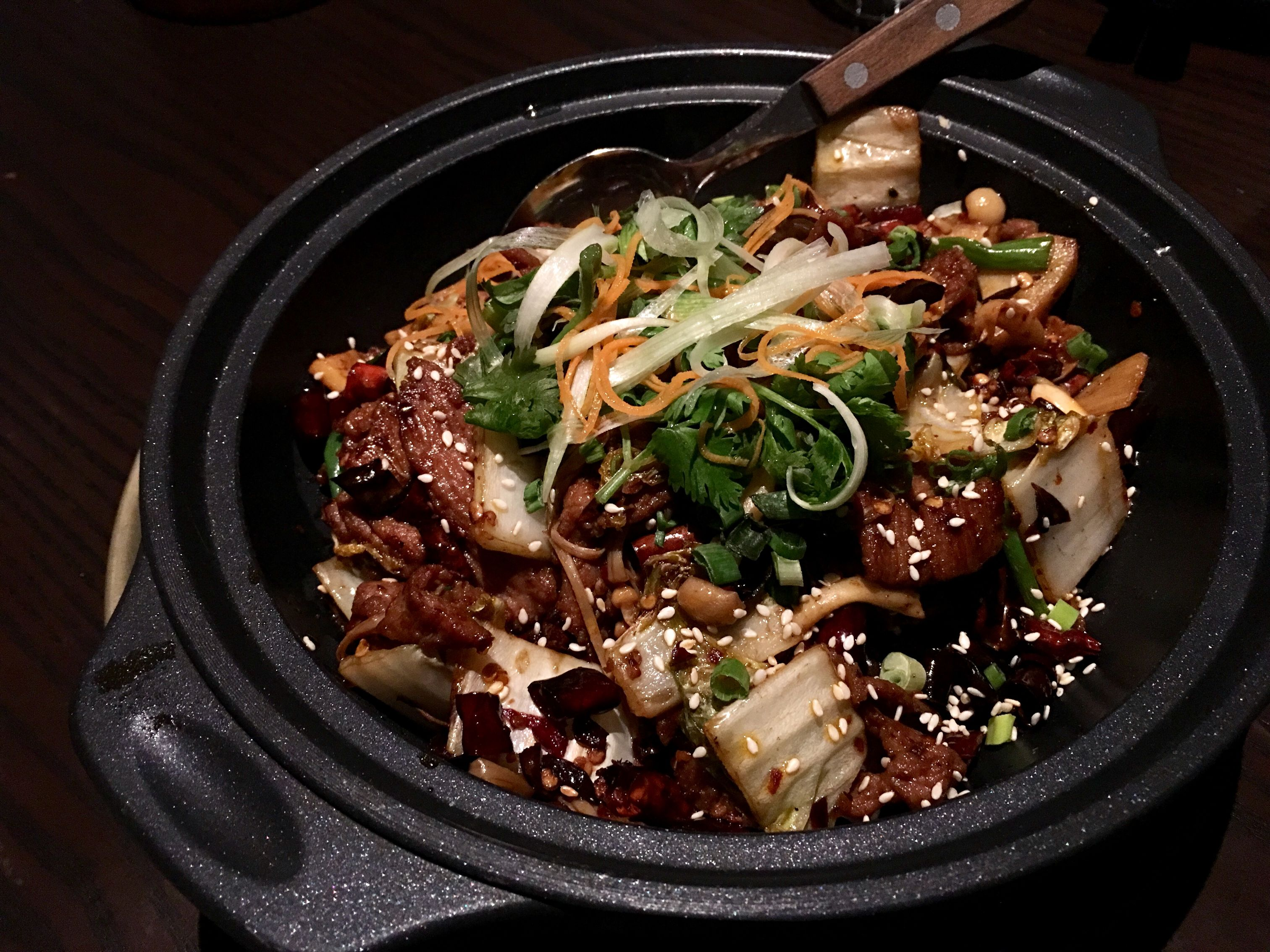 Auntie's Wok and Steam's mala: Kurobuta pork collar with lotus roots, woodear mushrooms, and scallion.