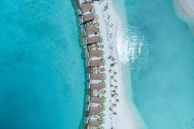 aerial view of the InterContinental Maldives lagoon villas holiday ideas Oct 2019