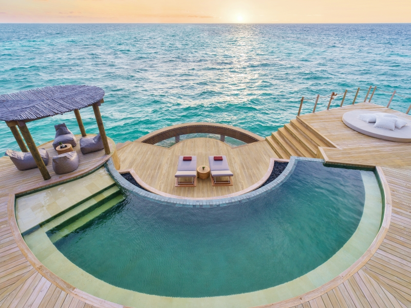The outdoor pool deck of the three bedroom overwater residence at the InterContinental Maldives holiday ideas Oct 2019