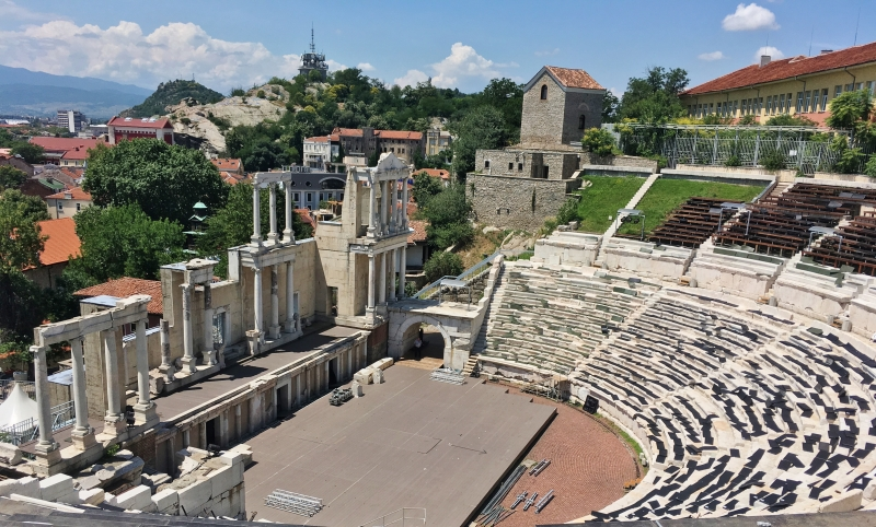The Amphitheatre in Plovdiv, Bulgaria, is a remnant from the Roman Empire