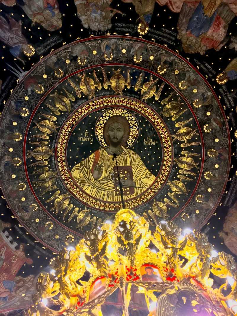 Artwork on the ceiling of the chapel at Bachkovo Monastery, Bulgaria