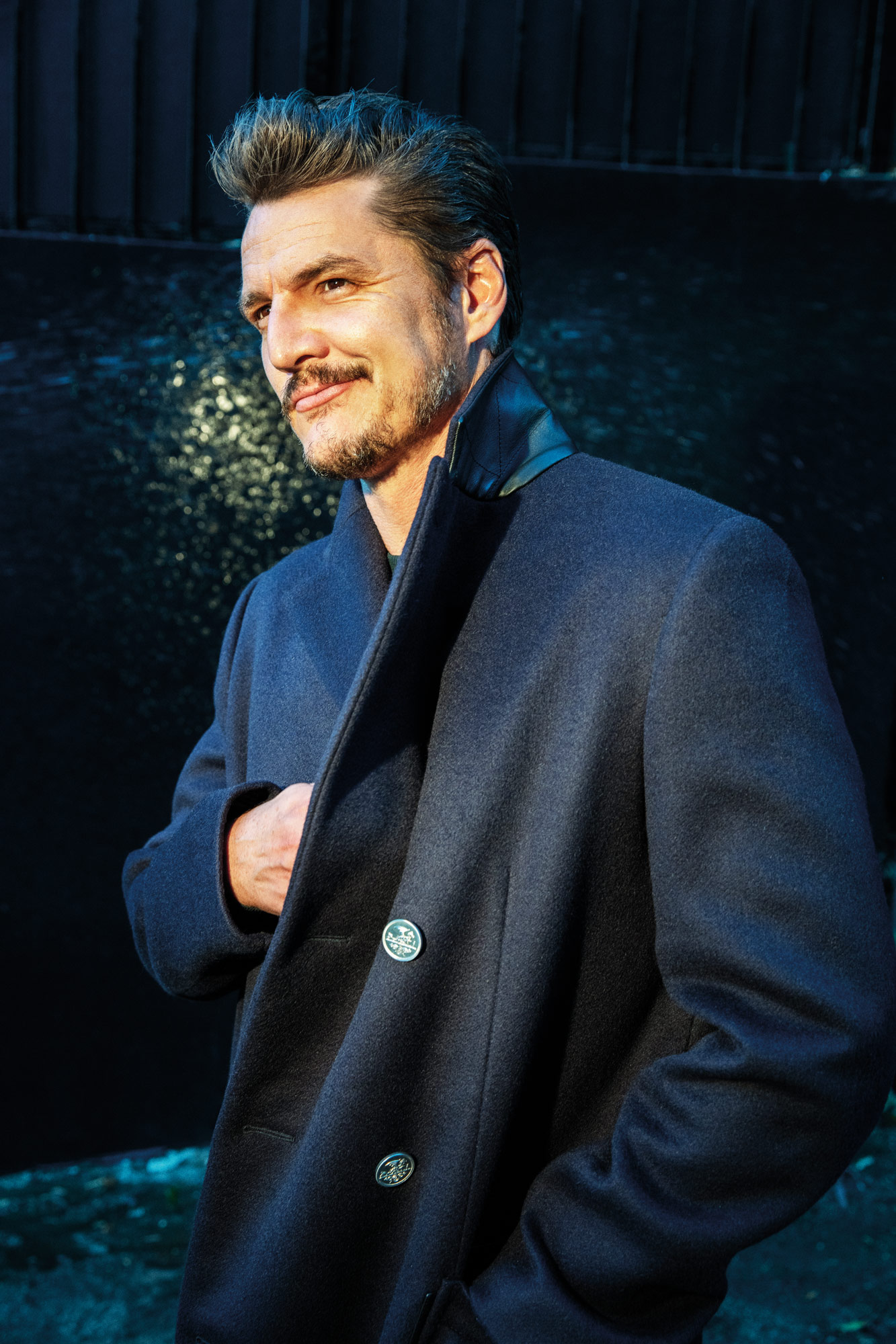Pedro Pascal is wearing Hermes' wool coat.