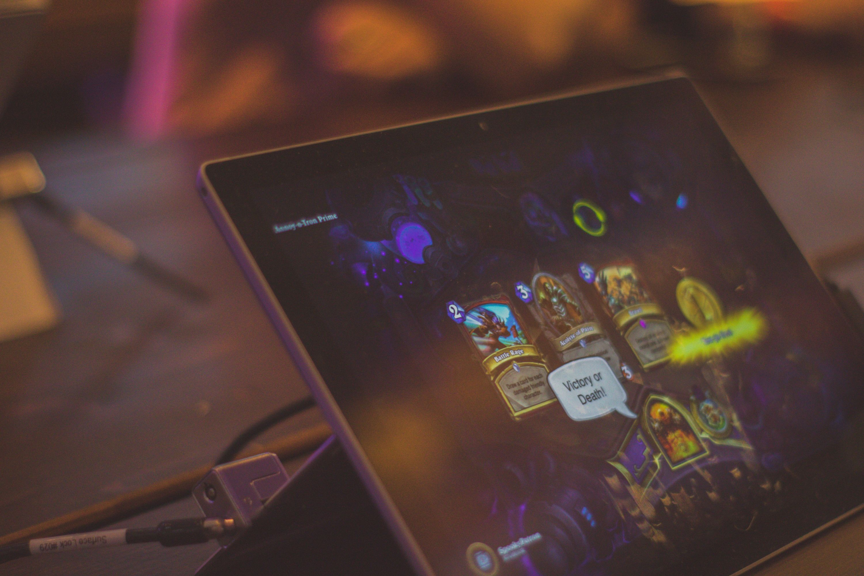 Blizzard's Hearthstone being played on a tablet