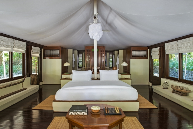 Inside Amanwana's tented accommodations on Moyo Island