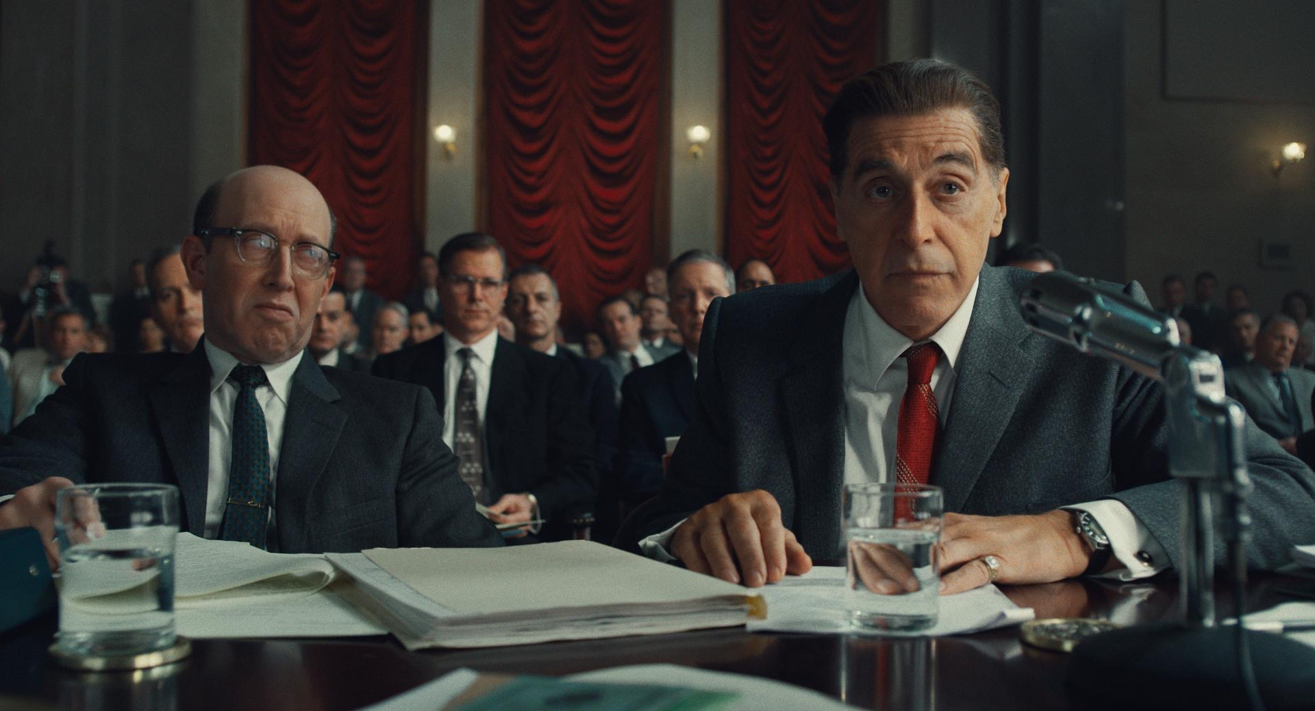 The Irishman: Al Pacino (Jimmy Hoffa) in a courtroom.