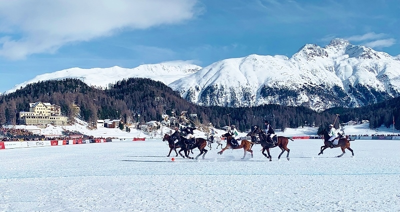 Snow Polo played on the frozen lake of St Moritz in Switzerland