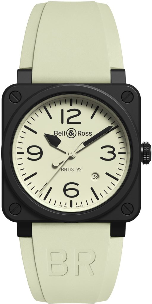 Bell & Ross BR 03-92 Full Lum in steel with rubber strap