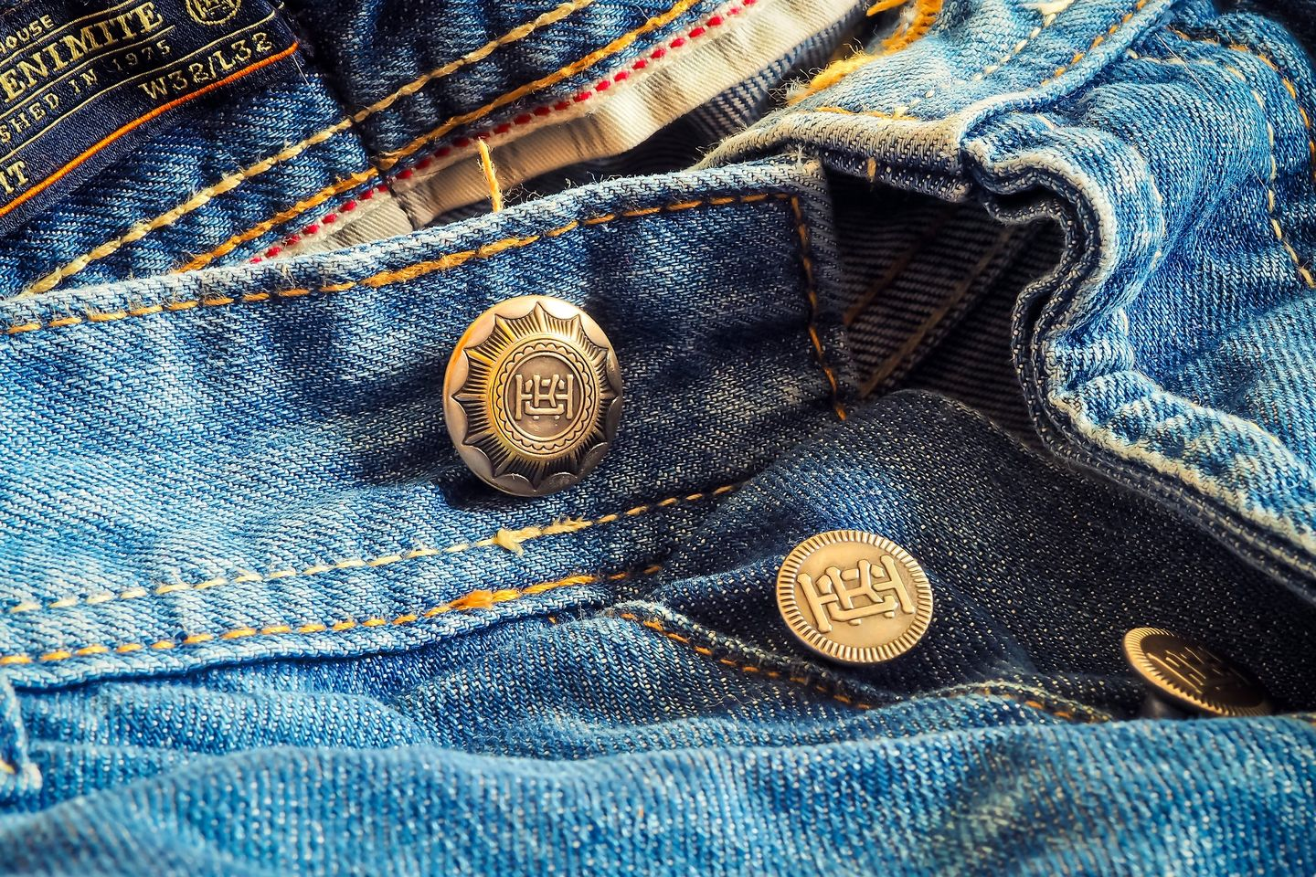 Custom hardware on a pair of jeans