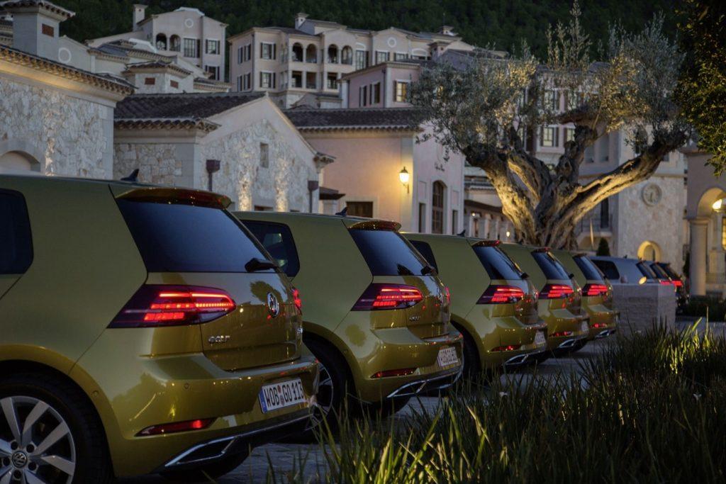 Line of Volkswagen Golfs