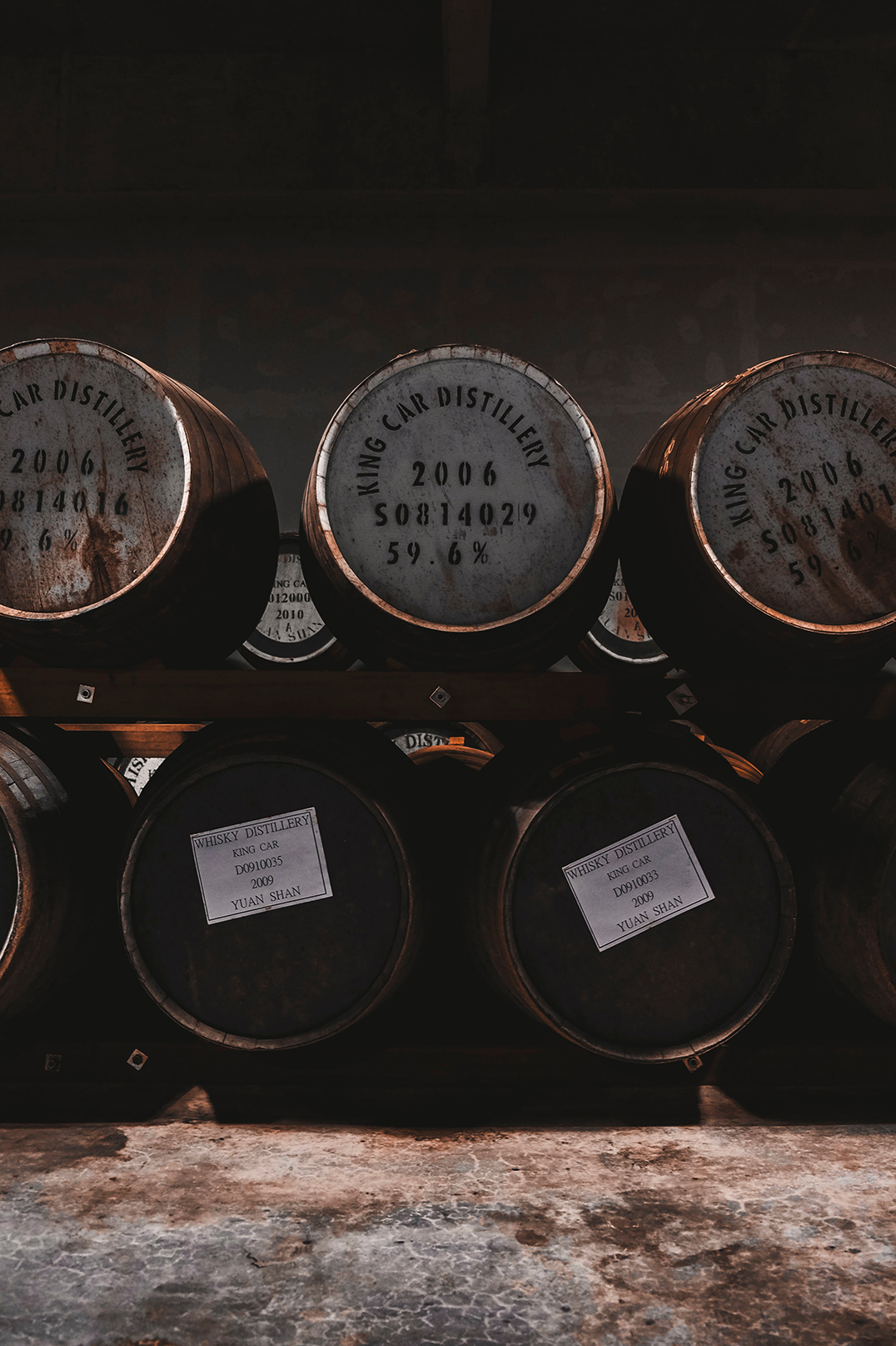 Various whiskies fermenting in barrels