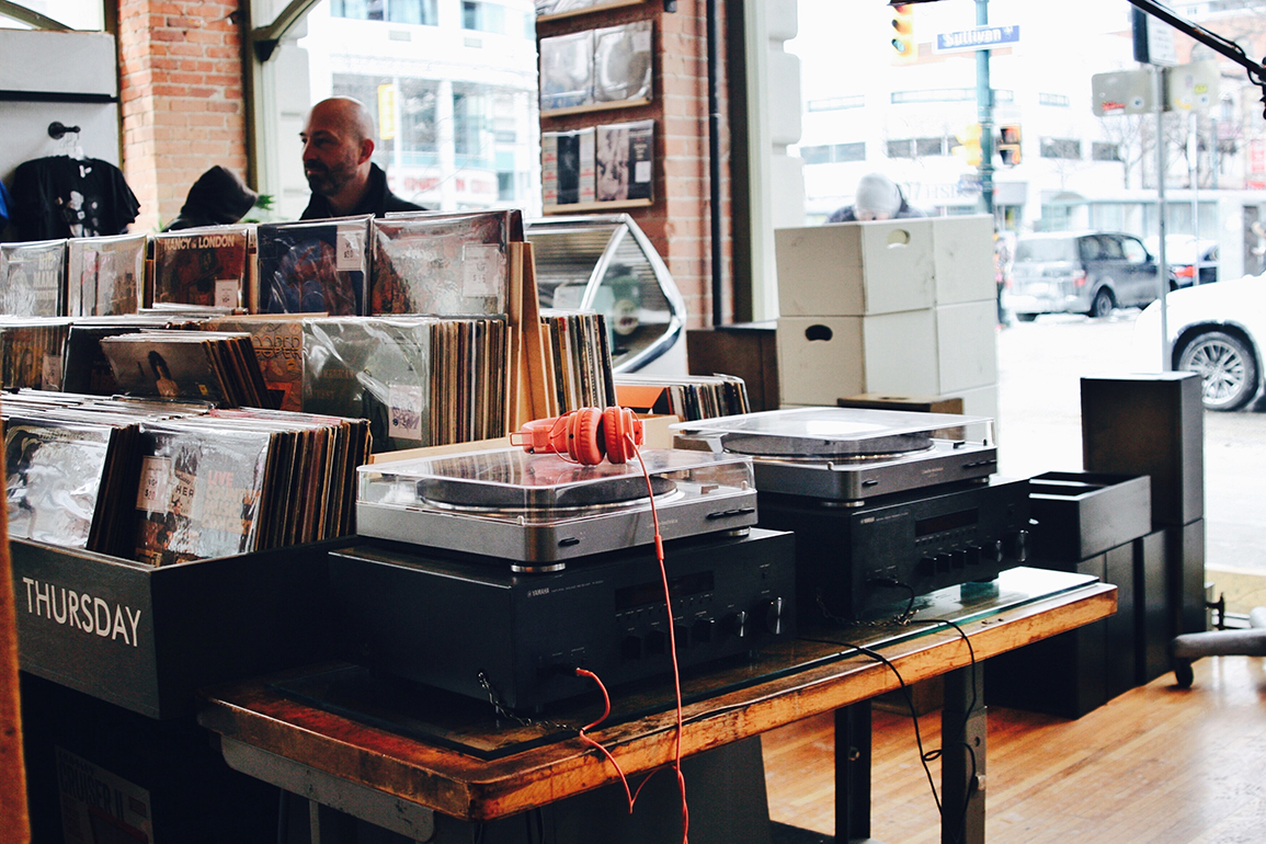 Interior shot of a vinyl records store