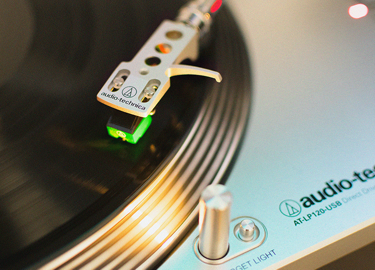Close-up shot of a vinyl record player