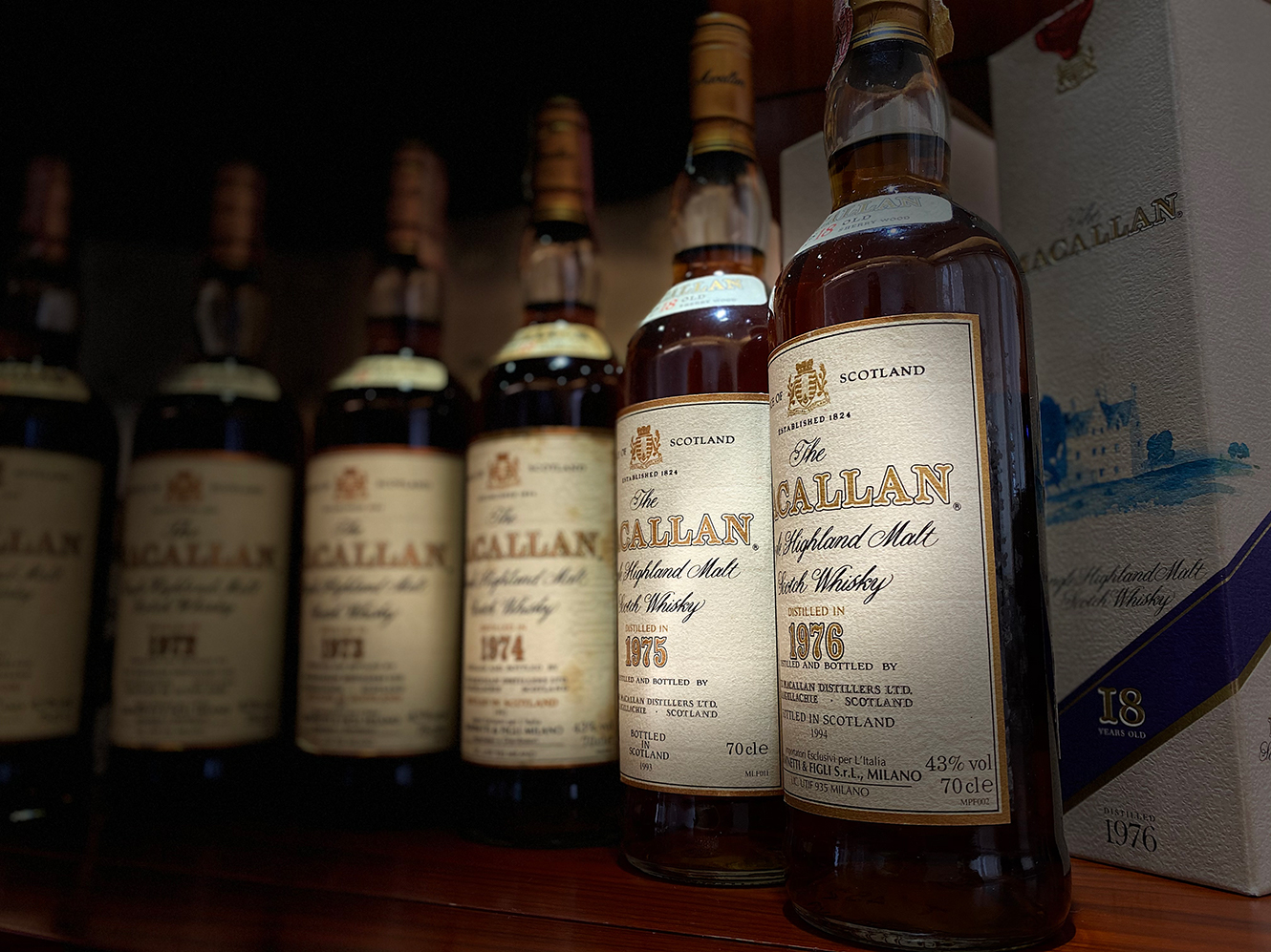 A collection of rare Macallan single malt scotch whiskies