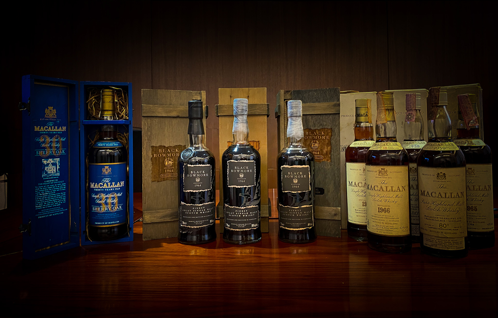 A collection of ultra-aged single malt scotch whiskies