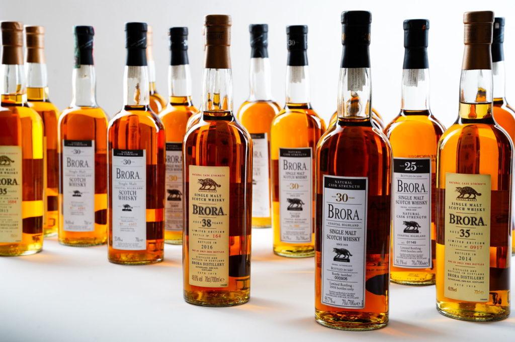 selection of rare brora whiskies